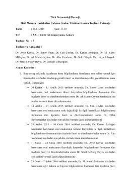 Kararlar - 2015/2 - Türk Dermatoloji Derneği