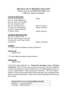 Yönetim Kurulu Tutanağı Sayı 38 - Bilgisayar ve Bilişim Fakültesi