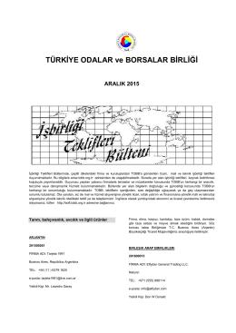 2015 Aralık (pdf-245 Kb) - Dünyadan İşbirliği Teklifleri