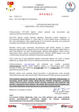 Ö N E M L İ - Türkiye Üniversite Sporları Federasyonu