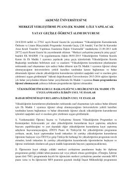 ek madde 1 - Akdeniz Üniversitesi