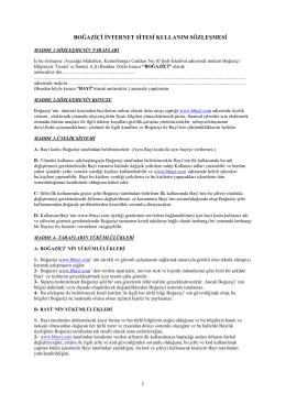 boğaziçi internet sitesi kullanım sözleşmesi