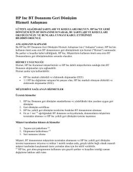 HP Donanım Geri Dönüşüm Hizmeti Anlaşmasının