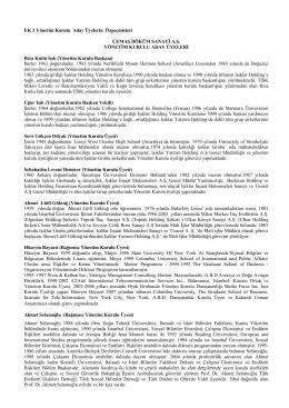 EK 3 Yönetim Kurulu Aday Üyelerin Özgeçmişleri ÇEMAŞ DÖKÜM