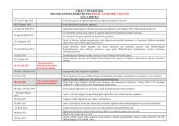 2015-2016 Öğretim Yılı Akademik Takvimi