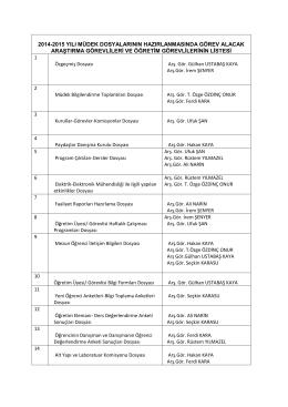 2014-2015 yılı müdek dosyalarının hazırlanmasında görev alacak