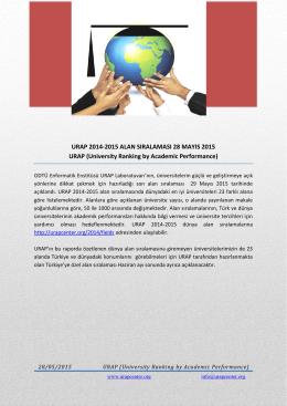 2014- 2015 Dünya Üniversitelerin Alan Bazındaki