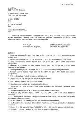 25.11.2015 / 22 Avni KULA OSB Yönt. Krl. Başkanı, Dr. Mehmed Ali