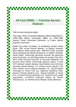 Ali Fuat ERBİL — Yönetim Kurulu Başkanı