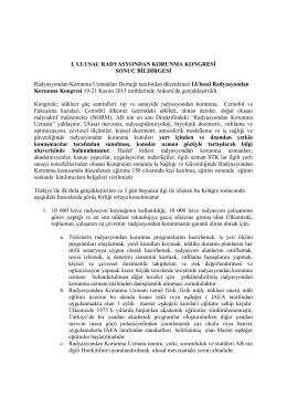 Sonuç Bildirgesi - 1.Ulusal Radyasyondan Korunma Kongresi