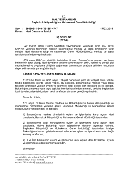 İç Genelge (2015/6) - Başhukuk Müşavirliği ve Muhakemat Genel