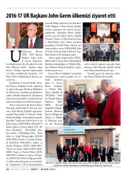 2016-17 UR Başkanı John Germ ülkemizi ziyaret etti