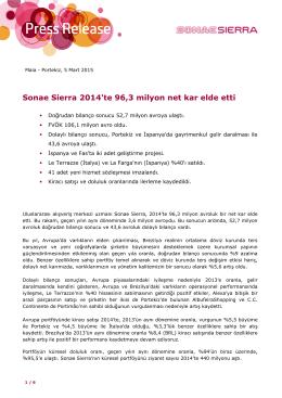 Sonae Sierra 2014`te 96,3 milyon net kar elde etti