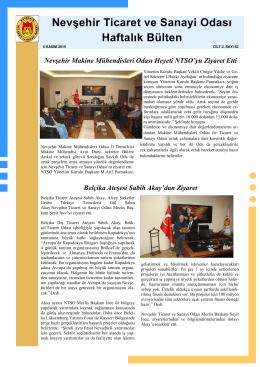 haftalık bülten sayı 82 - Nevşehir Ticaret Odası