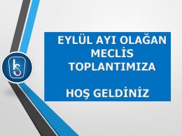 2015 Eylül Ayı Yönetim Kurulu Aylık Faaliyet