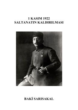 1 Kasım 1922 Saltanatın Kaldırılması