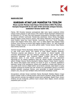 Karsan Atak`lar Manisa`ya Teslim 18.06.2015