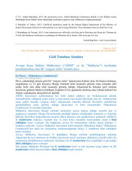 Gizli Tutulma Alanları - European Court of Human Rights