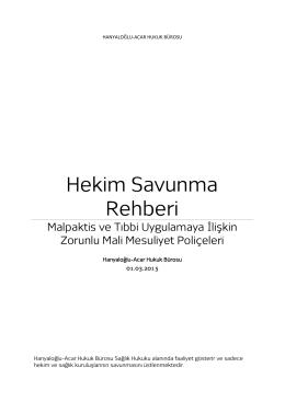 Hekim Savunma Rehberi - Hanyaloğlu & Acar Hukuk Bürosu