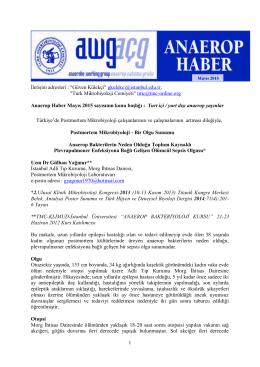 Anaerop Haber Mayıs 2015 - Türk Mikrobiyoloji Cemiyeti
