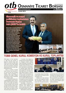 e-Bülten - Aralık/2015 - Osmaniye Ticaret Borsası