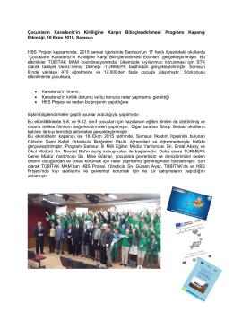 Çocukların Karadeniz`in Kirliliğine Karşın Bilinçlendirilmesi Programı