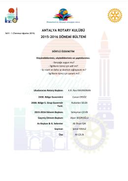 Bülten-Sayı-1 - Antalya Rotary Kulübü