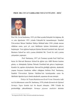 Prof.Dr. Cevat SARIKAMIŞ Hocamızın Özgeçmişi