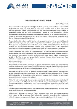 Alan Yatırım Perakende Sektörü Araştırma Raporu