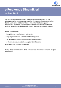 e-Perakende Dinamikleri Haziran 2015