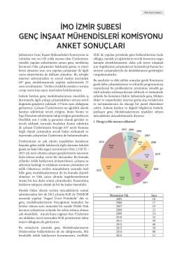 İMO İzmir Şubesi Genç İnşaat Mühendisleri Anketi