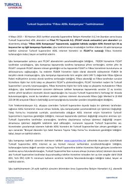 "Turkcell Superonline ""Filbox ADSL Kampanyası"" Taahhütnamesi 4"