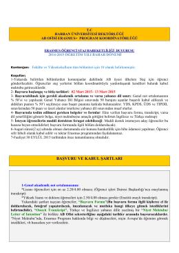 2015 Staj Duyurusu - Harran Üniversitesi AB Ofisi