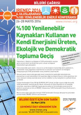 %100 Yenilenebilir Kaynakları Kullanan ve Kendi Enerjisini Üreten