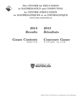 2015 Results Gauss Contests 2015 Résultats Concours