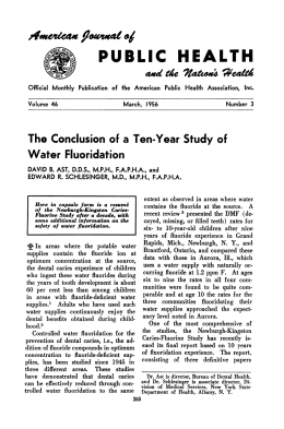 The Conclusion of a Ten-Year Study of Water Fluoridation