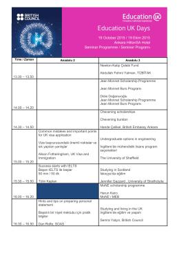 İngiltere`de Eğitim Günleri Programı Ankara - 19 Ekim