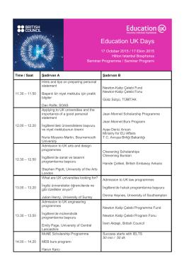 İngilterede Eğitim Günleri Programı Istanbul - 17 Ekim