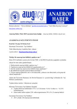 Anaerop Haber Mart 2015 - Türk Mikrobiyoloji Cemiyeti