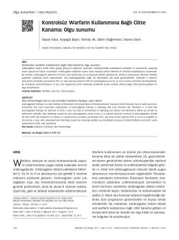 Kontrolsüz Warfarin Kullanımına Bağlı Ciltte Kanama: Olgu sunumu