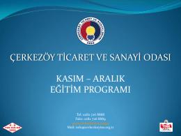 Aralık Eğitim Programı - Çerkezköy Sanayi ve Ticaret Odası