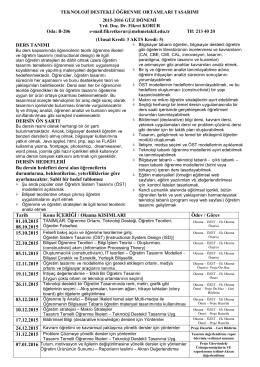 course outline - Yrd.Doç.Dr. Fikret Korur