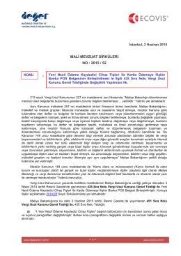2015-52 Yeni Nesil Ödeme Kaydedici Cihaz Fişleri