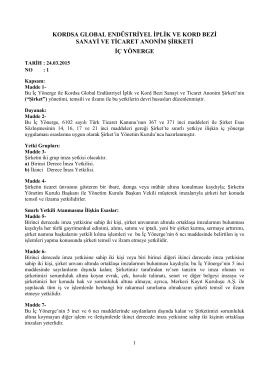 24.03.2015 - Kordsa Global A.Ş. Yönetim Kurulu İç Yönergesi