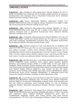 1 Temmuz 2015 Tarihli Meclis Kararları