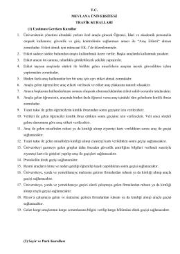 Mevlana Üniversitesi Trafik Kuralları
