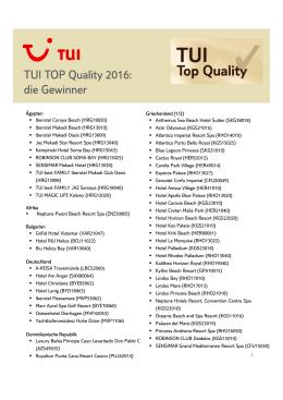 TUI TOP Quality 2016: die Gewinner