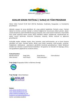 ADALAR SOKAK FESTİVALİ / SUNUŞ VE TÜM PROGRAM