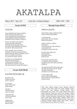 Mayıs 2015 - Sayı 185 Aylık ġiir ve EleĢtiri Dergisi ISSN