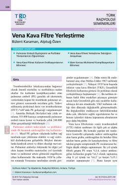 Vena Kava Filtre Yerleştirme
